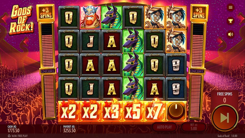 Gods of Rock Slot - Huge Multipliers in Bonus Round