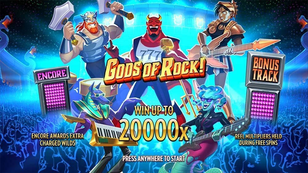 Gods of Rock Slot - Intro Screen