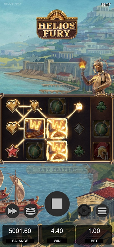 Helios Fury Mobile Slot - Wilds Forming Wins