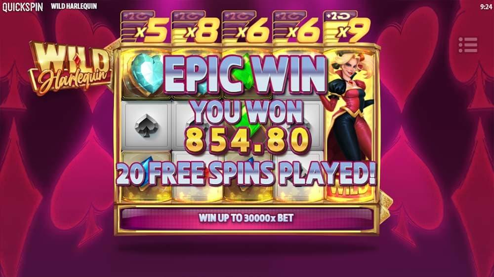 Wild Harlequin Slot - Bonus End