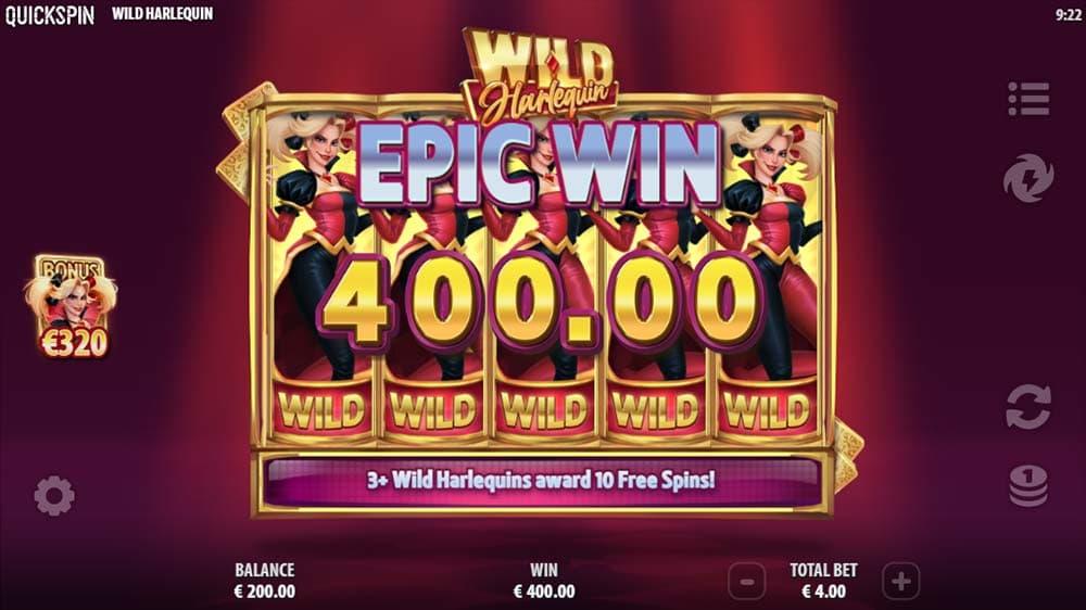 Wild Harlequin Slot - Bonus Triggered